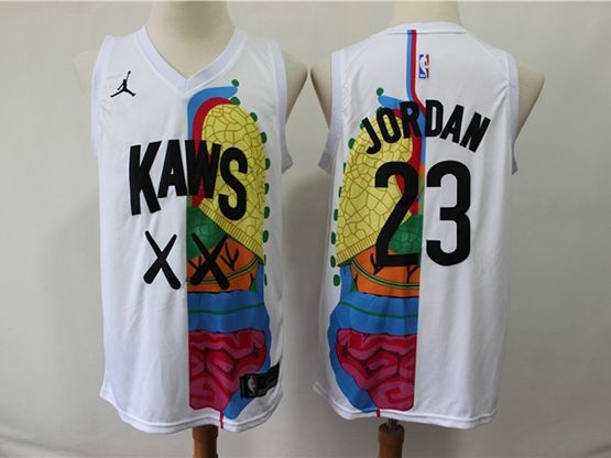 Mens Nba Chicago Bulls #23 Michael Jordan Kaws X Jordan X White Swingman Hardwood Classics Jersey