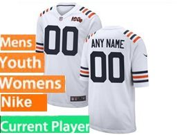 Mens Women Youth Nfl Chicago Bears White 100th Season Nike Game Current Player Jersey