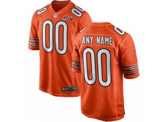 Mens Women Youth Nfl Chicago Bears Orange 100th Season Custom Made Nike Game Jersey