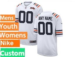 Mens Women Youth Nfl Chicago Bears White 100th Season Custom Made Nike Game Jersey