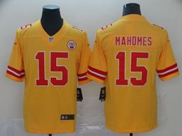 Mens Kansas City Chiefs #15 Patrick Mahomes Gold Nike Inverted Legend Vapor Untouchable Limited Jersey