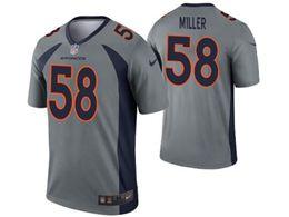 Women Youth Nfl Denver Broncos #58 Von Miller Gray Nike Inverted Legend Jersey