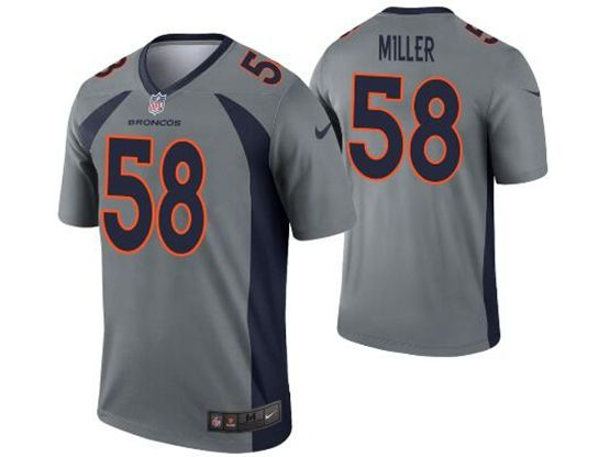 Women Youth Nfl Denver Broncos #58 Von Miller Gray Nike Inverted Legend Jersey