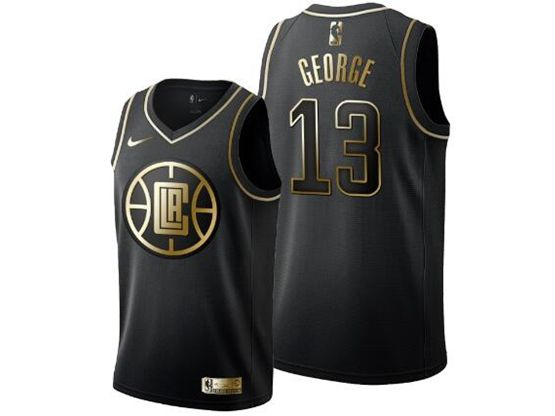 Mens Nba Los Angeles Clippers #13 Paul George New Black Golden Edition Jersey