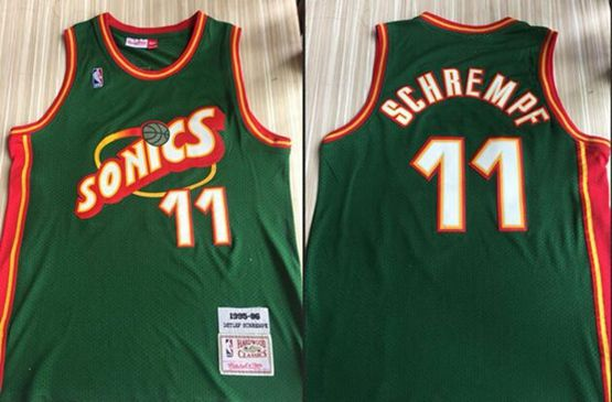 Mens Nba Seattle Supersonics #11 Detlef Schrempf Green Mitchell & Ness 1995-96 Hardwood Classics Jersey