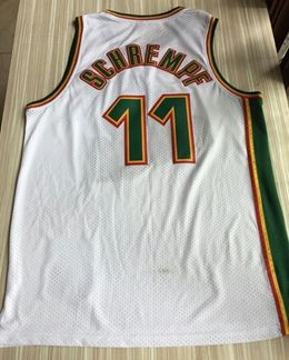 Mens Nba Seattle Supersonics #11 Detlef Schrempf White Mitchell & Ness 1995-96 Hardwood Classics Jersey