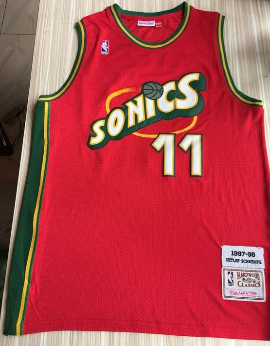 Mens Nba Seattle Supersonics #11 Detlef Schrempf Red Mitchell & Ness 1995-96 Hardwood Classics Jersey
