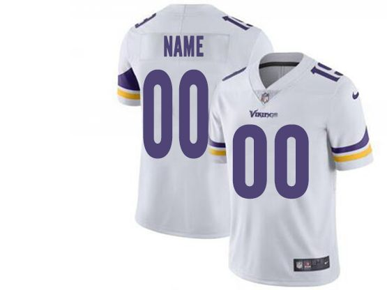 Mens Women Youth Nfl Minnesota Vikings White Custom Made Vapor Untouchable Limited Jersey