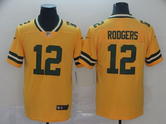 Mens Nfl Green Bay Packers #12 Aaron Rodgers Gold Nike Inverted Legend Vapor Untouchable Limited Jersey
