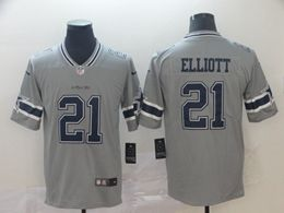 Mens Nfl Dallas Cowboys #21 Ezekiel Elliott Gray Nike Inverted Legend Vapor Untouchable Limited Jersey