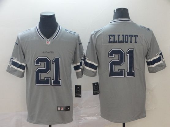 Mens Nfl Dallas Cowboys #21 Ezekiel Elliott Gray Nike Inverted Legend Vapor Untouchable Limited Jersey