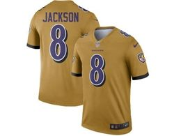 Women Youth Nfl Baltimore Ravens #8 Lamar Jackson Gold Nike Inverted Legend Jersey