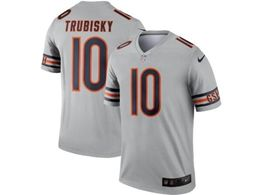 Women Youth Nfl Chicago Bears #10 Mitchell Trubisky Silver Nike Inverted Legend Jersey