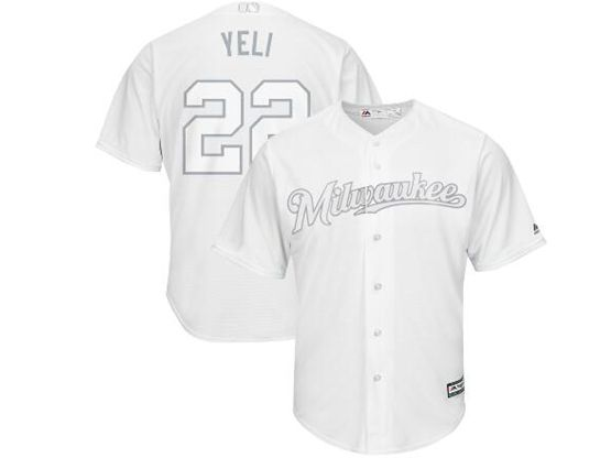 Mens Mlb Milwaukee Brewers #22 Yeli (christian Yelich) White 2019 Players Weekend Cool Base Jersey