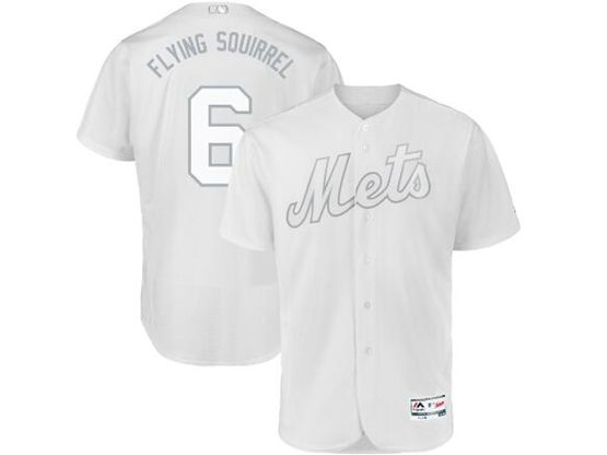Mens Mlb New York Mets #6 Flying Squirrel (jeff Mcneil) White 2019 Players Weekend Cool Base Jersey