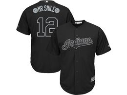 Mens Mlb Cleveland Indians #12 Mr.smile (francisco Lindor) Black 2019 Players Weekend Cool Base Jersey