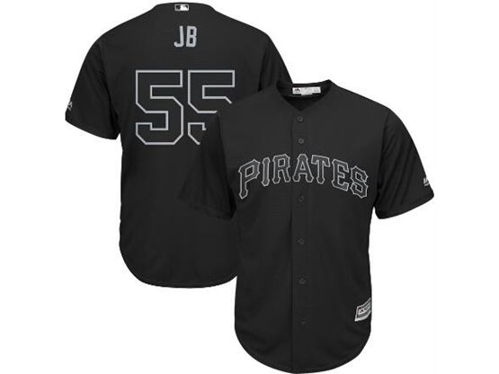 Mens Mlb Pittsburgh Pirates #55 Jb (josh Bell) Black 2019 Players Weekend Cool Base Jersey