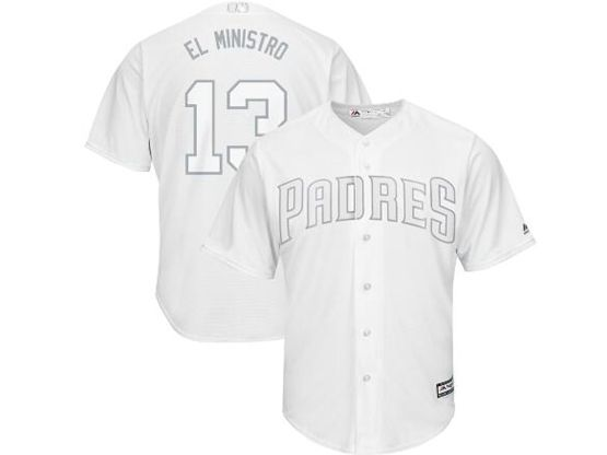 Mens Mlb San Diego Padres #13 El Ministro (manny Machado) White 2019 Players Weekend Cool Base Jersey