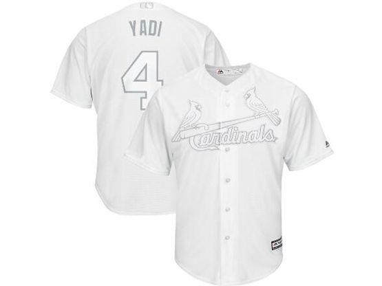 Mens Mlb St.louis Cardinals #4 Yadi (yadier Molina) White 2019 Players Weekend Cool Base Jersey