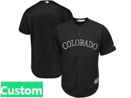 Mens Mlb Colorado Rockies Black 2019 Players Weekend Custom Made Flex Base Jersey