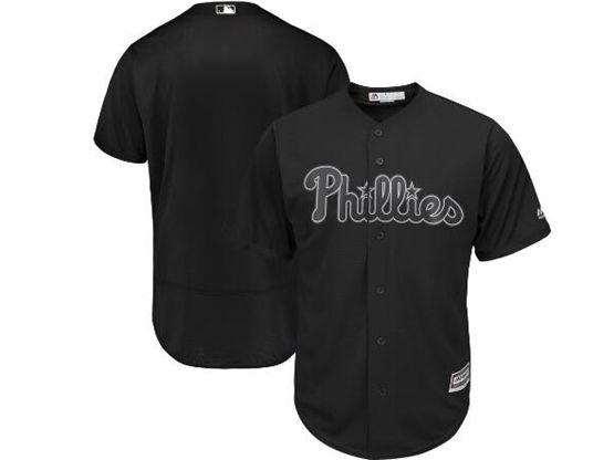 Mens Mlb Philadephia Phillies Black 2019 Players Weekend Custom Made Flex Base Jersey