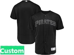 Mens Mlb Pittsburgh Pirates Black 2019 Players Weekend Custom Made Flex Base Jersey