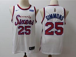 Mens Nba Philadelphia 76ers #25 Ben Simmons White Hardwood Classics Nike Swingman Jersey