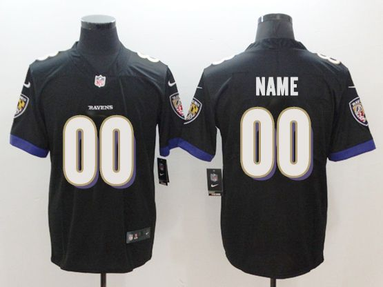 Mens Women Youth Nfl Baltimore Ravens Black Custom Made Vapor Untouchable Limited Jersey