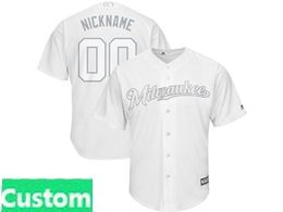Mens Mlb Milwaukee Brewers White 2019 Players Weekend Custom Made Cool Base Jersey