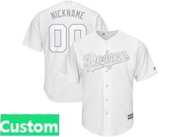 Mens Mlb Los Angeles Dodgers White 2019 Players Weekend Custom Made Cool Base Jersey