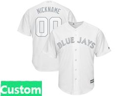 Mens Mlb Toronto Blue Jays White 2019 Players Weekend Custom Made Cool Base Jersey