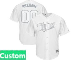 Mens Mlb Minnesota Twins White 2019 Players Weekend Custom Made Cool Base Jersey