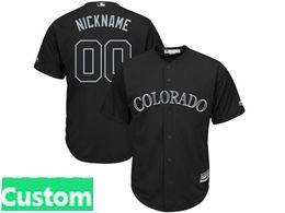 Mens Mlb Colorado Rockies Black 2019 Players Weekend Custom Made Cool Base Jersey