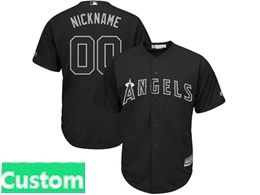 Mens Mlb Los Angeles Angels Black 2019 Players Weekend Custom Made Cool Base Jersey