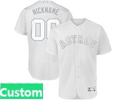 Mens Mlb Houston Astros White 2019 Players Weekend Custom Made Cool Base Jersey