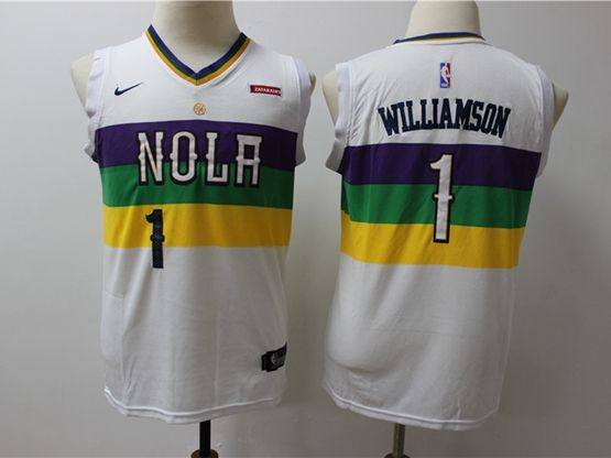 Youth 2019 New Orleans Hornets #1 Williamson White City Edition Jersey