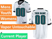 Mens Women Youth Nfl Philadelphia Eagles White 2018 Super Bowl Lii Bound Vapor Untouchable Limited Current Player Jersey