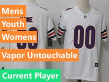 Mens Women Youth Nfl Chicago Bears White Vapor Untouchable Limited Current Player Jersey