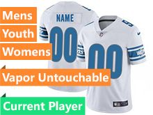 Mens Women Youth Nfl Detroit Lions White Current Player Vapor Untouchable Limited Jersey