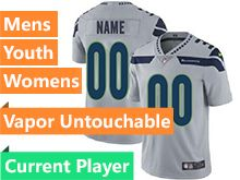 Mens Women Youth Nfl Seattle Seahawks Gray Current Player Vapor Untouchable Limited Jersey