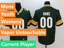 Mens Women Youth Nfl Green Bay Packers Green Current Player Vapor Untouchable Limited Jersey