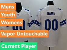 Mens Women Youth Nfl Dallas Cowboys White Vapor Untouchable Limited Current Player Jersey