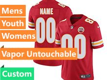 Mens Women Youth Kids Nfl Kansas City Chiefs Custom Made Red Vapor Untouchable Limited Jersey