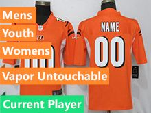 Mens Women Youth Nfl Cincinnati Bengals Orange Vapor Untouchable Limited Current Player Jersey