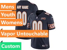 Mens Women Youth Nfl Chicago Bears Blue 100th Season Custom Made Nike Vapor Untouchable Limited Jersey