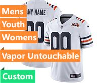 Mens Women Youth Nfl Chicago Bears White 100th Season Custom Made Nike Vapor Untouchable Limited Jersey