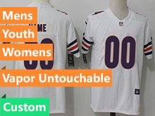 Mens Women Youth Nfl Chicago Bears White Custom Made Vapor Untouchable Limited Player Jersey