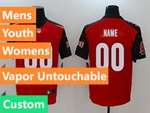 Mens Women Youth Nfl Tampa Bay Buccaneers Red Vapor Untouchable Limited Custom Made Jersey