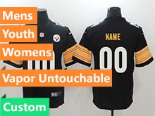 Mens Women Youth Nfl Pittsburgh Steelers Custom Made Black Vapor Untouchable Limited Jersey