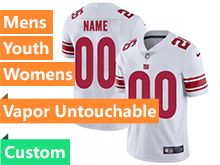 Mens Women Youth Nfl New York Giants White Custom Made Vapor Untouchable Limited Jersey